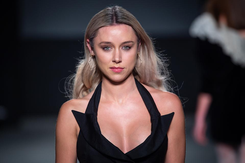 Una Healy on the catwalk during the Oxfam Fighting Poverty Catwalk Show fashion show, held at Ambika 3 during London Fashion Week A/W 2019. Picture date: Monday February 18, 2018. Photo credit should read: Matt Crossick/Empics