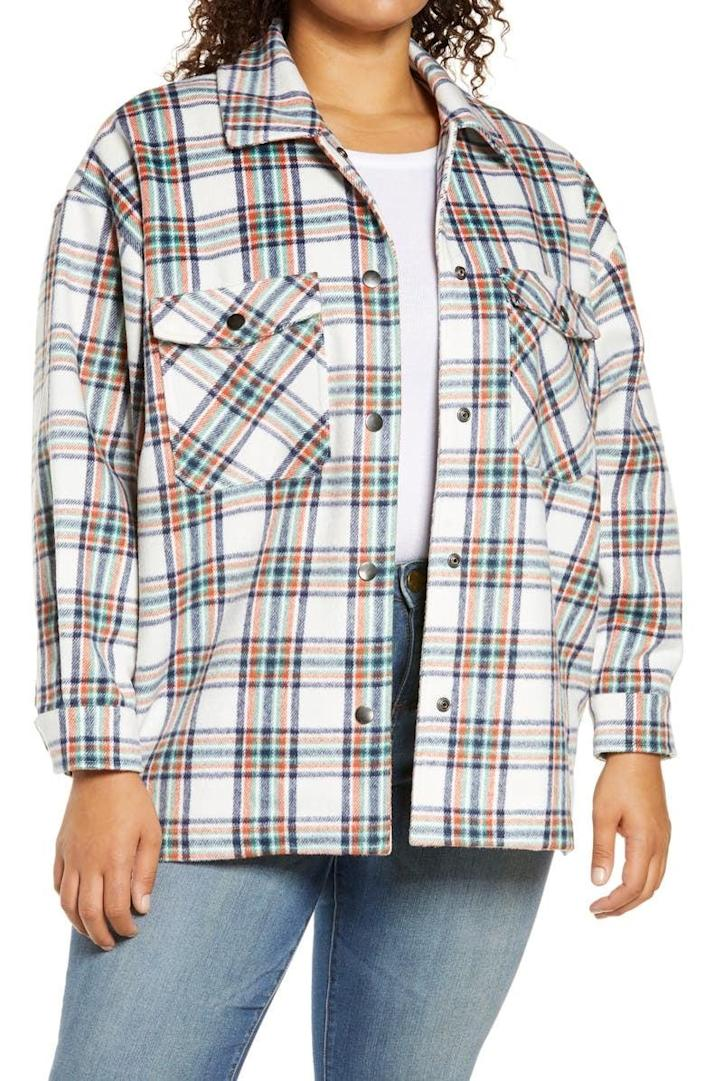 <p>Layer this <span>Plaid Fleece Shirt Jacket</span> ($59) over a classic tee.</p>