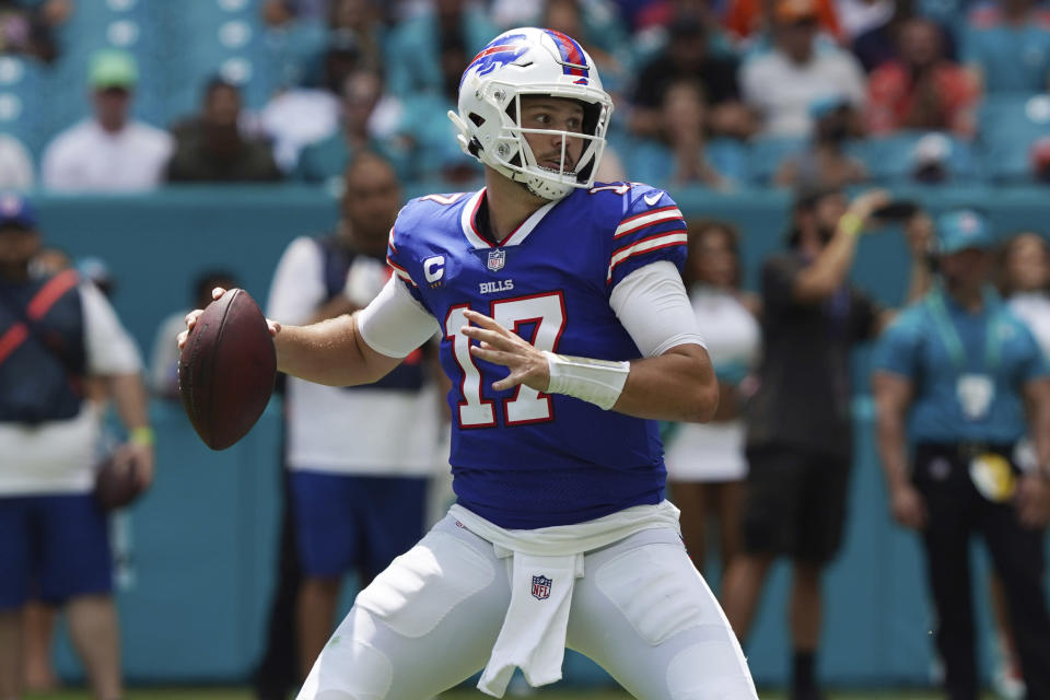 Buffalo Bills quarterback Josh Allen (17) aims a pass during the first half of an NFL football game against the Miami Dolphins, Sunday, Sept. 19, 2021, in Miami Gardens, Fla. (AP Photo/Hans Deryk)