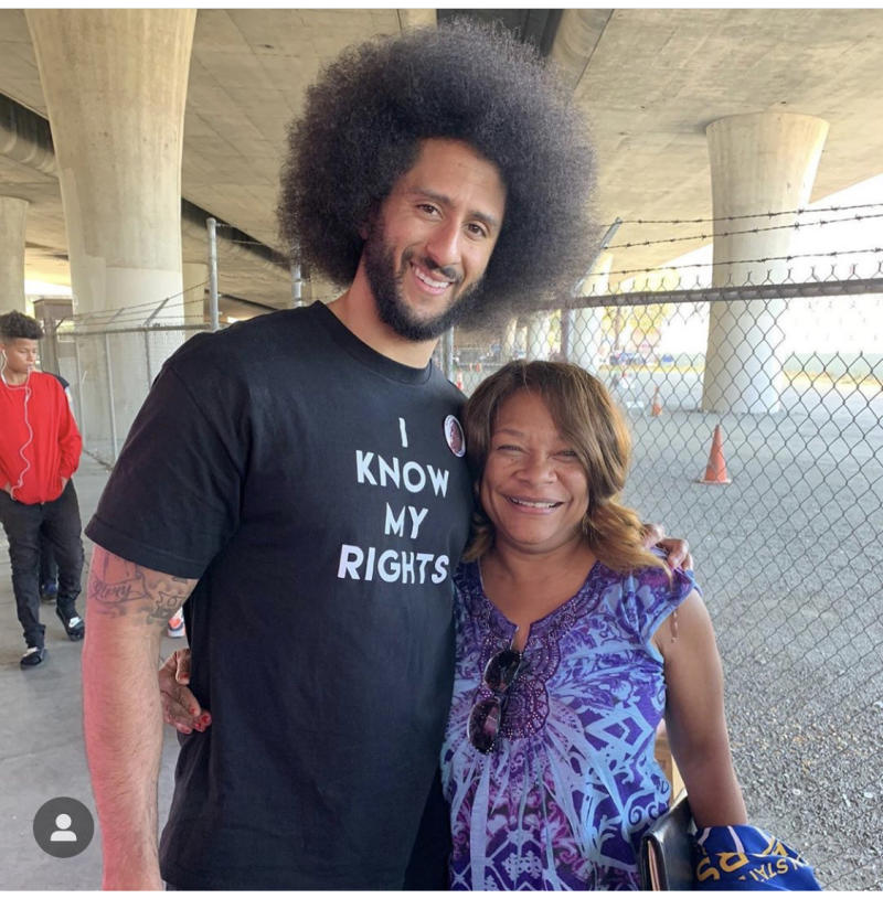 Colin Kaepernick and others spent part of his 32nd birthday caring for those experiencing homelessness in Oakland. (Know Your Rights Camp/Instagram)