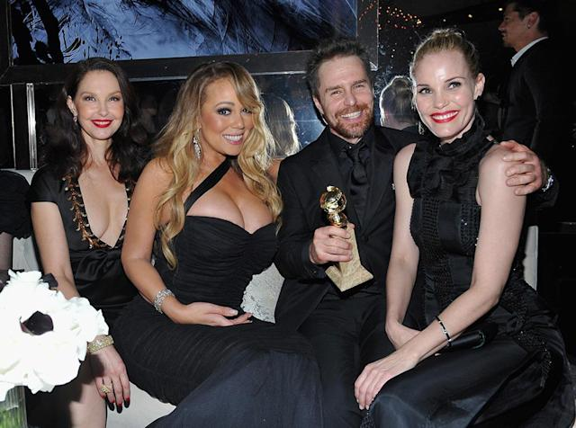 <p>Ashley Judd, Mariah Carey, Sam Rockwell, and his partner, Leslie Bibb, attended the 2018 InStyle and Warner Bros. party at the Beverly Hilton Hotel. (Photo: Donato Sardella/Getty Images for InStyle ) </p>