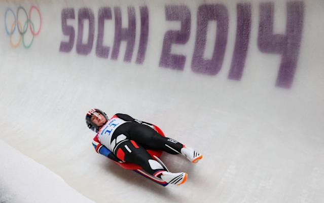 SOCHI, RUSSIA - FEBRUARY 11: Erin Hamlin of the United States in action during the Women's Luge Singles on Day 4 of the Sochi 2014 Winter Olympics at Sliding Center Sanki on February 11, 2014 in Sochi, Russia. (Photo by Julian Finney/Getty Images)