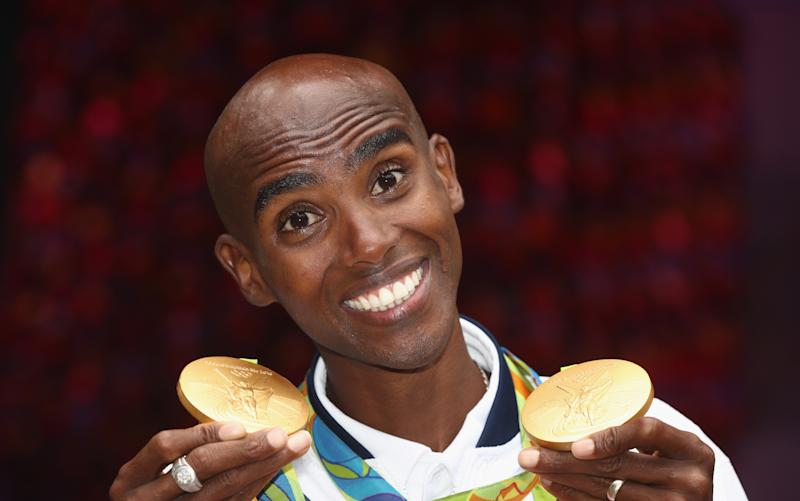 RIO DE JANEIRO, BRAZIL - AUGUST 21: Mo Farah of Great Britain, the double Gold Medal poses at British House on August 21, 2016 in Rio de Janeiro, Brazil. (Photo by David Rogers/Getty Images)