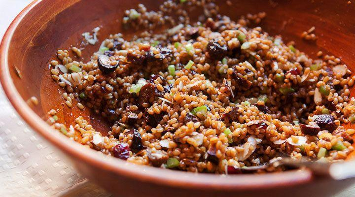 """<strong>Get the<a href=""""https://www.macheesmo.com/wheat-berry-fig-salad/"""" target=""""_blank"""">Wheat Berry and Fig Salad recipe</a>fromMacheesmo</strong>"""