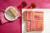 """<p>Want to create an ombre cake without all of the work? This rhubarb cake is the answer to your wish.</p><p><em><strong><a href=""""https://www.womansday.com/food-recipes/food-drinks/a19810598/rhubarb-and-almond-upside-down-cake-recipe/"""" rel=""""nofollow noopener"""" target=""""_blank"""" data-ylk=""""slk:Get the Rhubarb Upside-Down Cake recipe"""" class=""""link rapid-noclick-resp"""">Get the Rhubarb Upside-Down Cake recipe</a>. </strong></em></p>"""