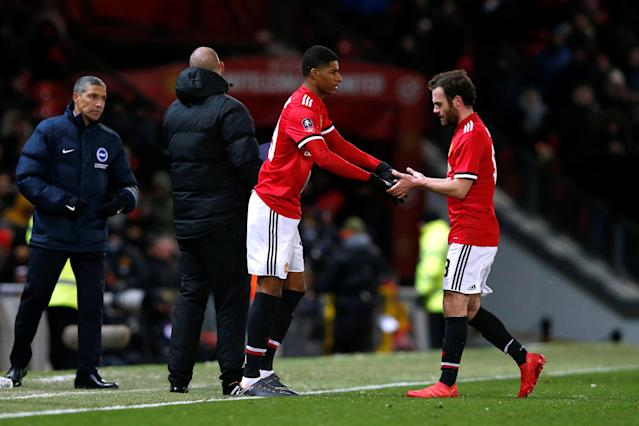 Soccer Football - FA Cup Quarter Final - Manchester United vs Brighton & Hove Albion - Old Trafford, Manchester, Britain - March 17, 2018 Manchester United's Marcus Rashford comes on as a substitute to replace Juan Mata REUTERS/Andrew Yates