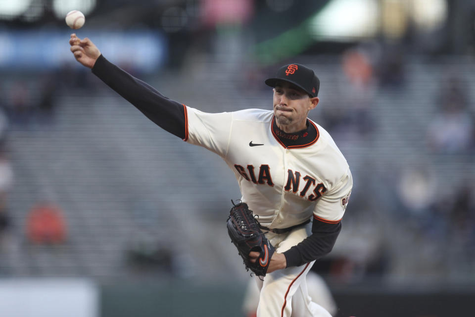 San Francisco Giants' Aaron Sanchez throws against the Colorado Rockies during the first inning of a baseball game in San Francisco, Tuesday, April 27, 2021. (AP Photo/Jed Jacobsohn)