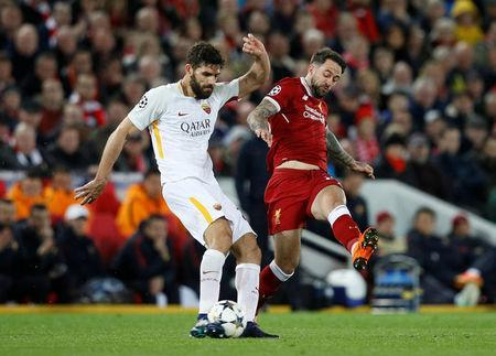 Soccer Football - Champions League Semi Final First Leg - Liverpool vs AS Roma - Anfield, Liverpool, Britain - April 24, 2018 Roma's Federico Fazio in action with Liverpool's Danny Ings REUTERS/Phil Noble
