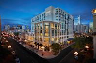 <p><strong>How did it strike you on arrival?</strong><br> When Montage decided to open a line of trendy, design-centric hotels geared toward the millennial traveler, the company looked to San Diego to be its first outpost. This bright, 12-story hotel opened in early 2017 and brought some much-needed modernity to the Gaslamp Quarter, a downtown neighborhood that veers on the kitschy, touristy side. The lobby is spacious and sophisticated with hip twists, like staffers in plaid outfits—a nod to the hotel brand's signature print.</p> <p><strong>What's the crowd like?</strong><br> The hotel caters to a young, hip crowd. See: the Moët & Chandon Champagne Vending Machine in Provisional Kitchen, Café & Mercantile, their casual restaurant.</p> <p><strong>Importantly: Tell us about the rooms.</strong><br> There are 317 rooms, including 36 suites. The decor features lots of wood, whites, and metallic gold touches—like a West Elm catalog come to life. Take a look at the Magic Eye-style wallpaper, a blue swirl pattern made up of surfers, rabbits, and palm trees. Rooms have floor-to-ceiling windows; book one of the top floors for the best views.</p> <p><strong>We're craving some deep, restorative sleep. They got us?</strong><br> Get ready for some of the best sleep of your life. Their huge beds are beyond comfortable.</p> <p><strong>How about the little things, like mini bar, or shower goodies. Any of that worth a mention?</strong><br> The mini-fridge is stocked with booze, snacks, and kombucha. Note that if you want to move items in the fridge to make room for your own, they charge $25 (!). Instead, you can request an empty mini-fridge from housekeeping. The macarons on your bed for nightly turndown are a classy touch.</p> <p><strong>Please tell us the bathroom won't let us down.</strong><br> The highlight of the room is the epic glass-doored, walk-in shower lined with subway tile. Robes are so plush and comfy you'll want to take them home (and you can, for $115 each).</p> <p><