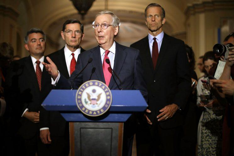 Senate Majority Leader Mitch McConnell (R-KY) (C) talks to reporters with (L-R) Sen. Cory Gardner (R-CO), Sen. John Barrosso (R-WY) and Sen. John Thune (R-SD) following their party's weekly policy luncheon at the U.S. Capitol May 16, 2017 in Washington, DC. (Photo: Chip Somodevilla/Getty Images)