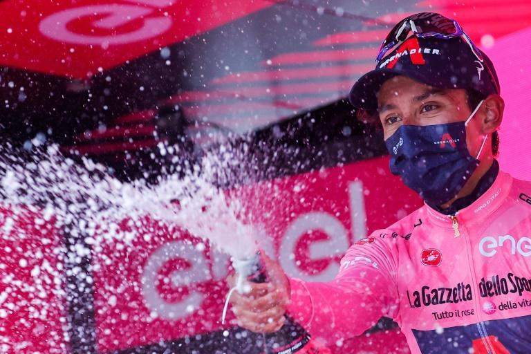 Egan Bernal celebrates after winning the overall leader's pink jersey and the ninth stage of the Giro d'Italia