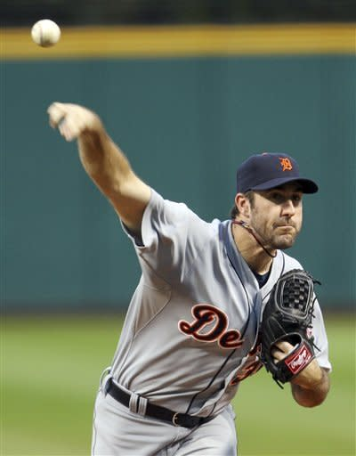 Detroit Tigers starting pitcher Justin Verlander delivers in the first inning of a baseball game against the Cleveland Indians, Friday, Sept. 14, 2012, in Cleveland. Verlander pitched seven innings and gave up six hits. The Tigers won 4-0. (AP Photo/Tony Dejak)