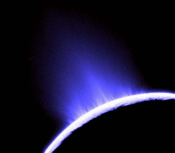 This photo of water geysers spouting from Saturn's moon Enceladus was taken by NASA's Cassini orbiter in October 2007