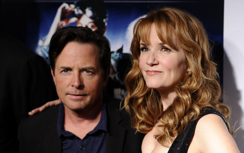 """Actors Michael J. Fox and Lea Thompson attend the """"Back To The Future"""" 25th anniversary reunion in New York, on Monday, Oct. 25, 2010. (AP Photo/Peter Kramer)"""