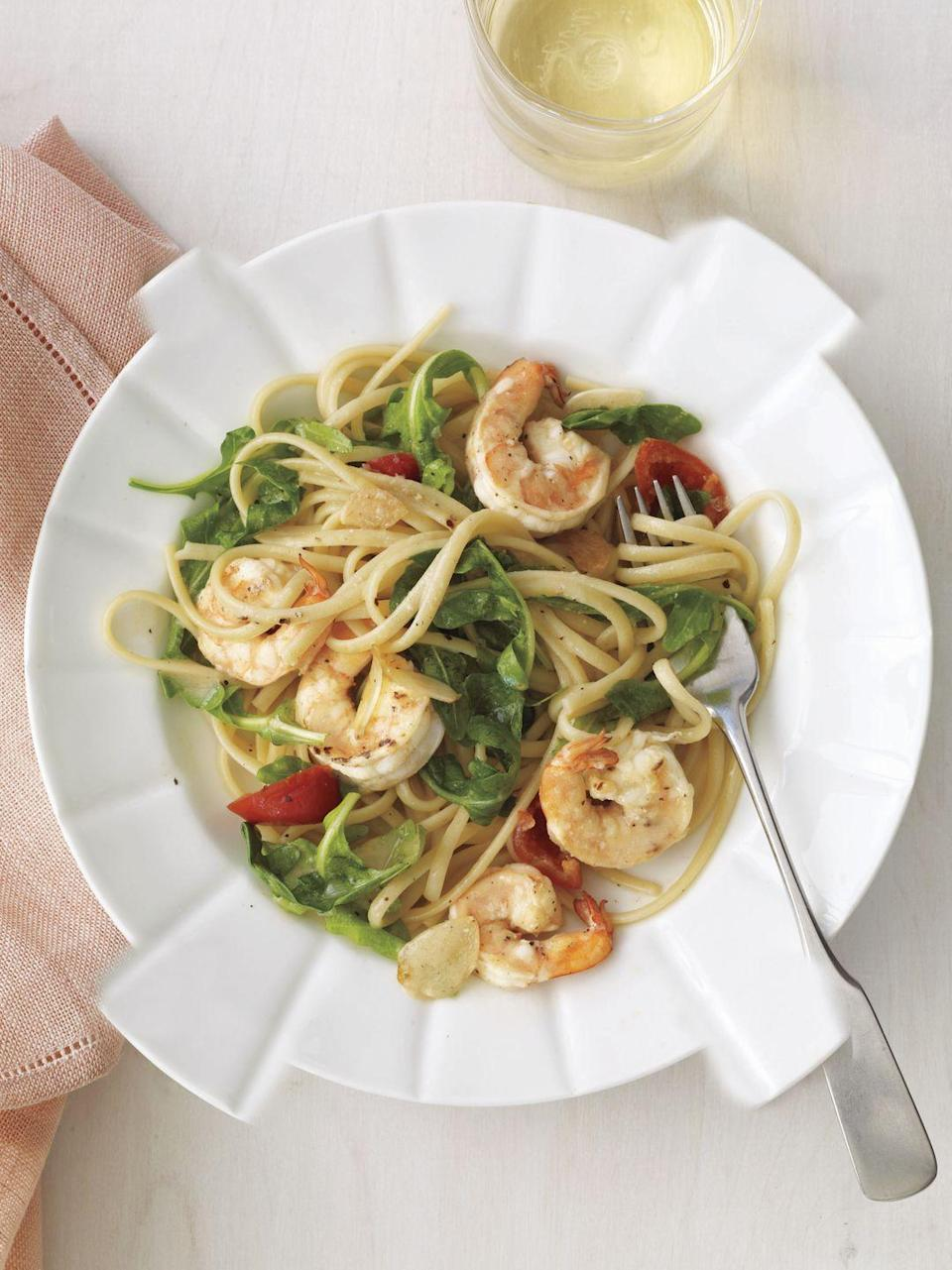 """<p>Fast, light and filled with sweet-hot flavor, this heart-healthy pasta gets everything you need for dinner in one bowl: greens, grains and protein in the form of briny, plump shrimp.</p><a href=""""https://www.womansday.com/food-recipes/food-drinks/recipes/a11987/shrimp-cherry-pepper-and-arugula-linguine-recipe/"""" rel=""""nofollow noopener"""" target=""""_blank"""" data-ylk=""""slk:Get the recipe for Shrimp, Cherry Pepper, and Arugula Linguine."""" class=""""link rapid-noclick-resp""""><em>Get the recipe for Shrimp, Cherry Pepper, and Arugula Linguine.</em></a><br>"""