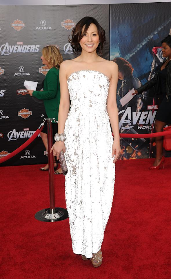 HOLLYWOOD, CA - APRIL 11:  Actress Ryoko Yonekura arrives at the premiere of Marvel Studios' 'The Avengers' at the El Capitan Theatre on April 11, 2012 in Hollywood, California.  (Photo by Jason Merritt/Getty Images)