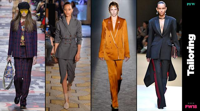 Tailored apparel continued to dominate at Paris Fashion Week. (Photo: Getty, Art: Quinn Lemmers)