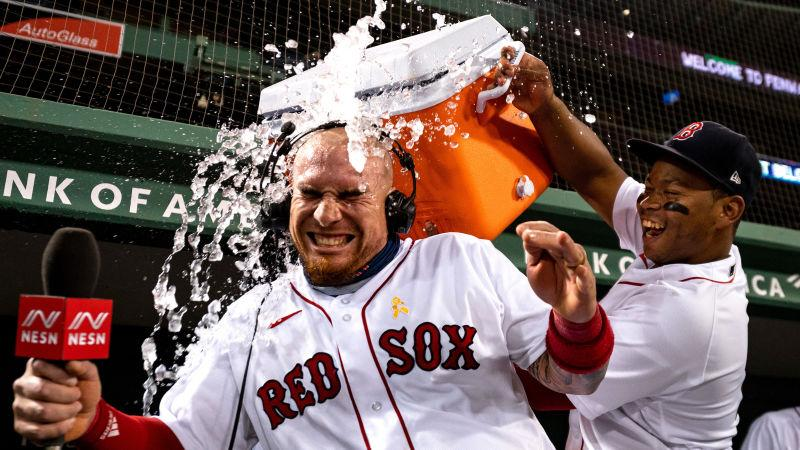 Red Sox player gets Gatorade dumped on his head