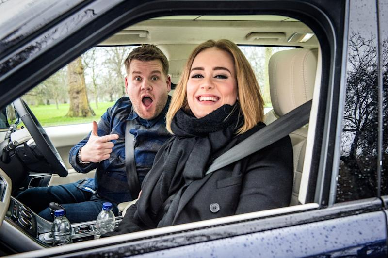 Adele and James Corden in a car