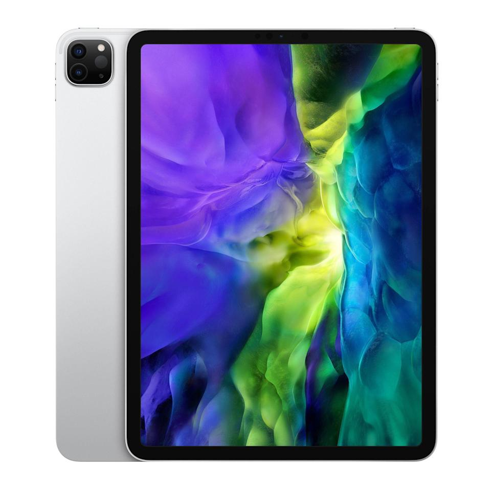 """<p><strong>Apple</strong></p><p>amazon.com</p><p><strong>$799.00</strong></p><p><a href=""""https://www.amazon.com/dp/B08637NV8M?tag=syn-yahoo-20&ascsubtag=%5Bartid%7C2089.g.261%5Bsrc%7Cyahoo-us"""" rel=""""nofollow noopener"""" target=""""_blank"""" data-ylk=""""slk:Shop Now"""" class=""""link rapid-noclick-resp"""">Shop Now</a></p><p>Available with an 11- and a 12.9-inch display, the Apple iPad Pro is the best tablet available today as well as a capable laptop replacement (especially the 12.9-inch variant), but if you have the money to spend. The $800 tablet is packed with cutting-edge tech, including a monstrously powerful chipset, a sharp Liquid Retina display with a high refresh rate, and a sophisticated camera setup. </p><p>Apple has equipped the iPad Pro with a duo of rear-facing cameras (12 MP and 10 MP ultra wide) with a LiDAR scanner for next-level augmented reality, as well as a 7 MP TrueDepth front camera. The tablet's 4K video recording capabilities are the best in its class. </p><p>Like its <a href=""""//www.bestproducts.com/tech/gadgets/a25058883/new-apple-ipad-pro-review-2018/"""" data-ylk=""""slk:predecessor"""" class=""""link rapid-noclick-resp"""">predecessor</a> and the <a href=""""//www.bestproducts.com/tech/gadgets/a25589216/iphone-buying-guide/"""" data-ylk=""""slk:iPhone 11 product family"""" class=""""link rapid-noclick-resp"""">iPhone 11 product family</a>, the latest iPad Pro features Face ID tech instead of a fingerprint sensor. To top things off, the tablet comes with iPadOS — the most secure platform with the best selection of apps in the business.</p><p>Overall, the iPad Pro is totally worth maxing out your new-tablet budget. I recommend that you pair the device with the <a href=""""https://www.amazon.com/dp/B07K1WWBJK?tag=syn-yahoo-20&ascsubtag=%5Bartid%7C2089.g.261%5Bsrc%7Cyahoo-us"""" rel=""""nofollow noopener"""" target=""""_blank"""" data-ylk=""""slk:Apple Pencil"""" class=""""link rapid-noclick-resp"""">Apple Pencil</a>, as well as the <a href=""""//www.bestproducts.com/tech/gadgets/a32190593/apple-magic-keyboard-review/"""" data"""
