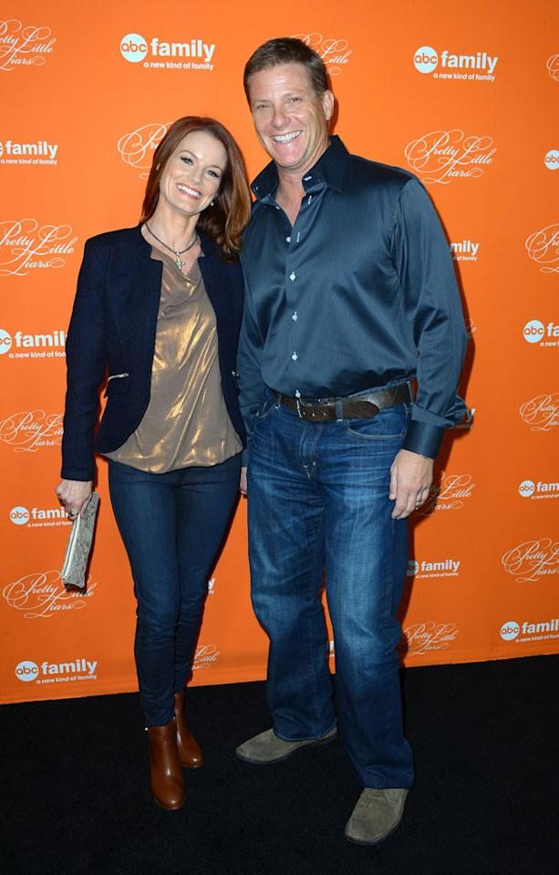 """Laura Leighton and Doug Savant arrive at the screening of ABC Family's """"Pretty Little Liars"""" Special Halloween Episode at Hollywood Forever Cemetery on October 16, 2012 in Hollywood, California."""