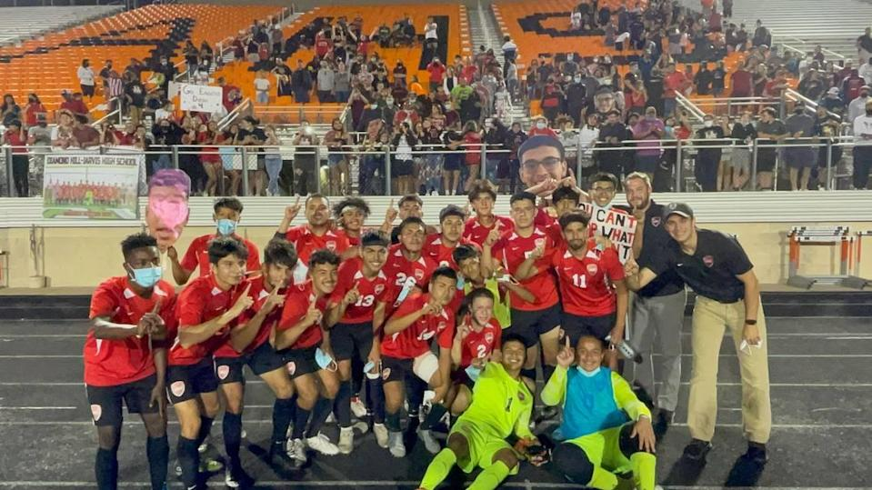 Fort Worth Diamond Hill-Jarvis boys soccer team defeated Mineral Wells 2-1 in overtime to clinch the program's first state semifinal berth, Friday April 9, 2021 at Aledo High School.
