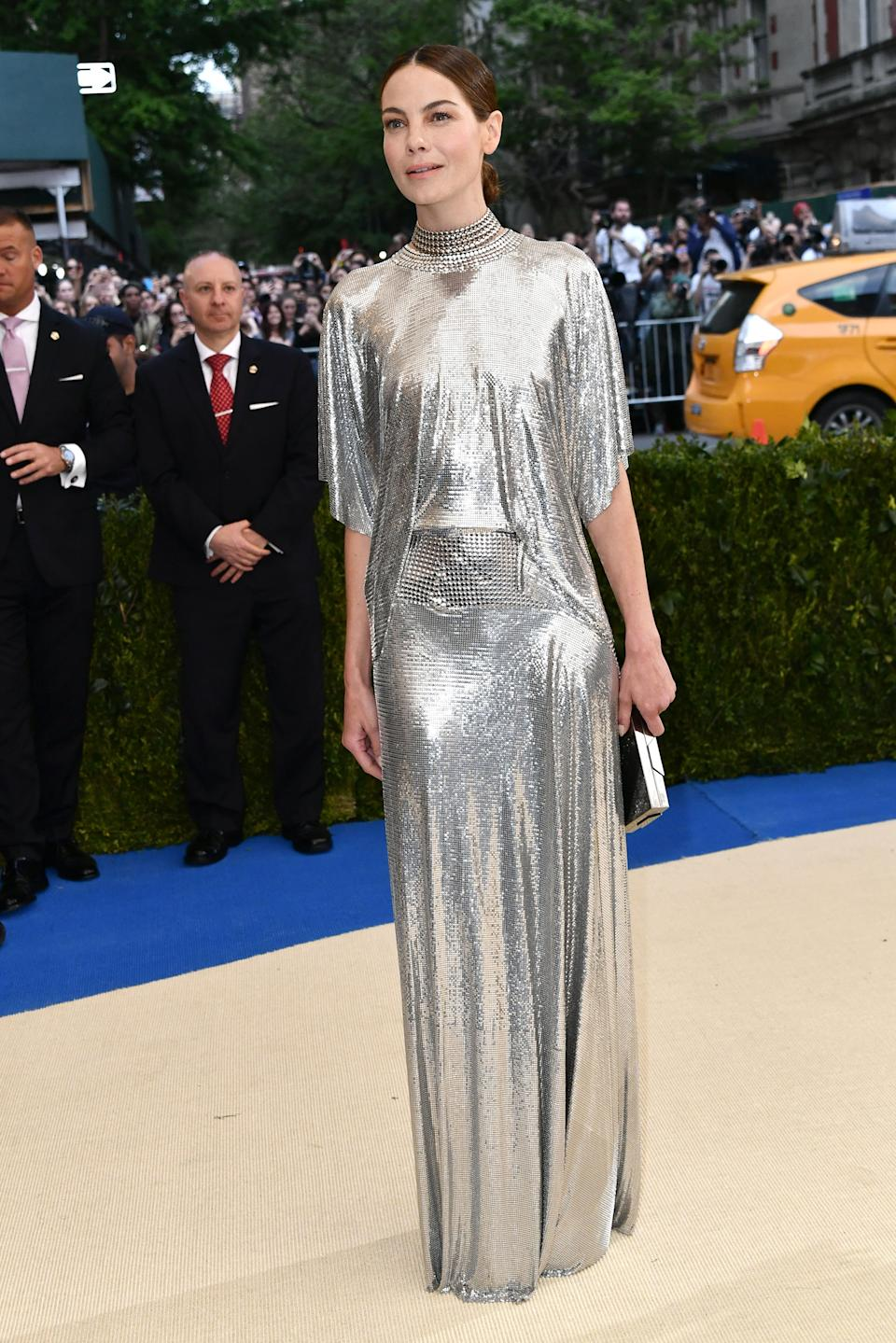 """<h1 class=""""title"""">Michelle Monaghan in Paco Rabanne, Lee Savage clutch, and Cartier jewelry</h1><cite class=""""credit"""">Photo: Shutterstock</cite>"""
