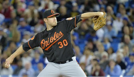 Baltimore Orioles starting pitcher Chris Tillman throws against the Toronto Blue Jays during first-inning AL baseball game action in Toronto, Friday May 24, 2013. (AP Photo/The Canadian Press, Nathan Denette)