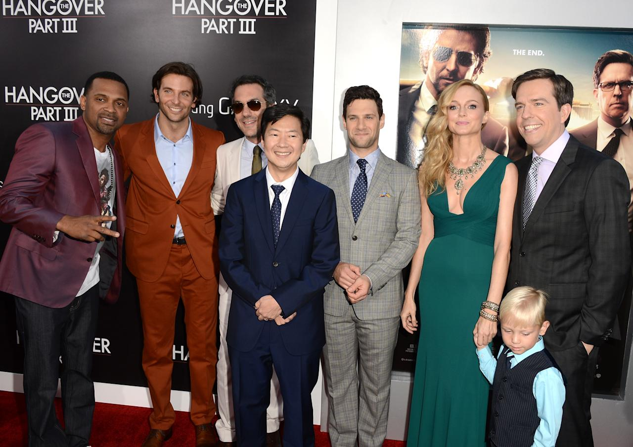 "WESTWOOD, CA - MAY 20: (L-R)  Actors Mike Epps, Bradley Cooper, Director Todd Phillips, actors Ken Jeong, Justin Bartha, Heather Graham, Grant Holmquist, and Ed Helms arrive at the premiere of Warner Bros. Pictures' ""Hangover Part 3"" on May 20, 2013 in Westwood, California.  (Photo by Kevin Winter/Getty Images)"