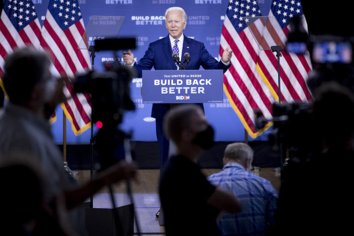 """Joe Biden speaks at a campaign event at the William """"Hicks"""" Anderson Community Center in Wilmington, Del., on Tuesday. (Andrew Harnik/AP)"""
