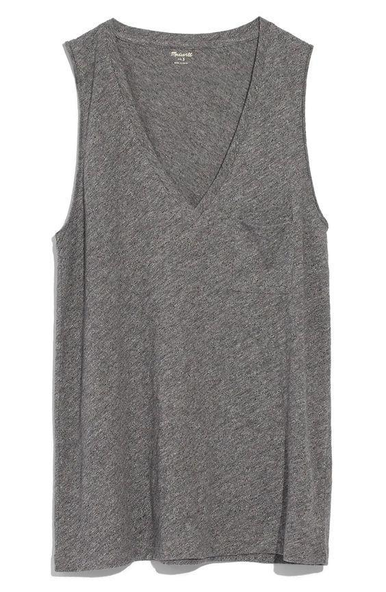 "Make getting ""dressed"" in the morning easier with this light-as-air sleeveless V-neck tee. $19, Nordstrom. <a href=""https://www.nordstrom.com/s/madewell-whisper-cotton-v-neck-tank/5831847"" rel=""nofollow noopener"" target=""_blank"" data-ylk=""slk:Get it now!"" class=""link rapid-noclick-resp"">Get it now!</a>"