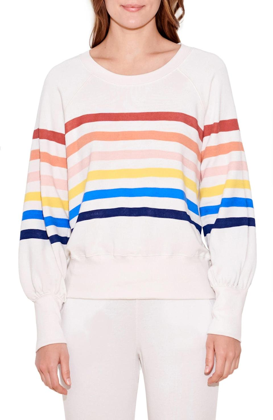 <p><span>Sundry Stripe Puff Sleeve Sweatshirt</span> ($87, originally $145)</p>