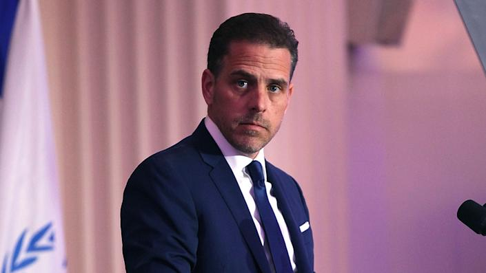 Hunter Biden speaks on stage at the World Food Program USA's Annual McGovern-Dole Leadership Award Ceremony at Organization of American States on April 12, 2016 in Washington, DC.  (Teresa Kroeger/Getty Images for World Food Program USA)