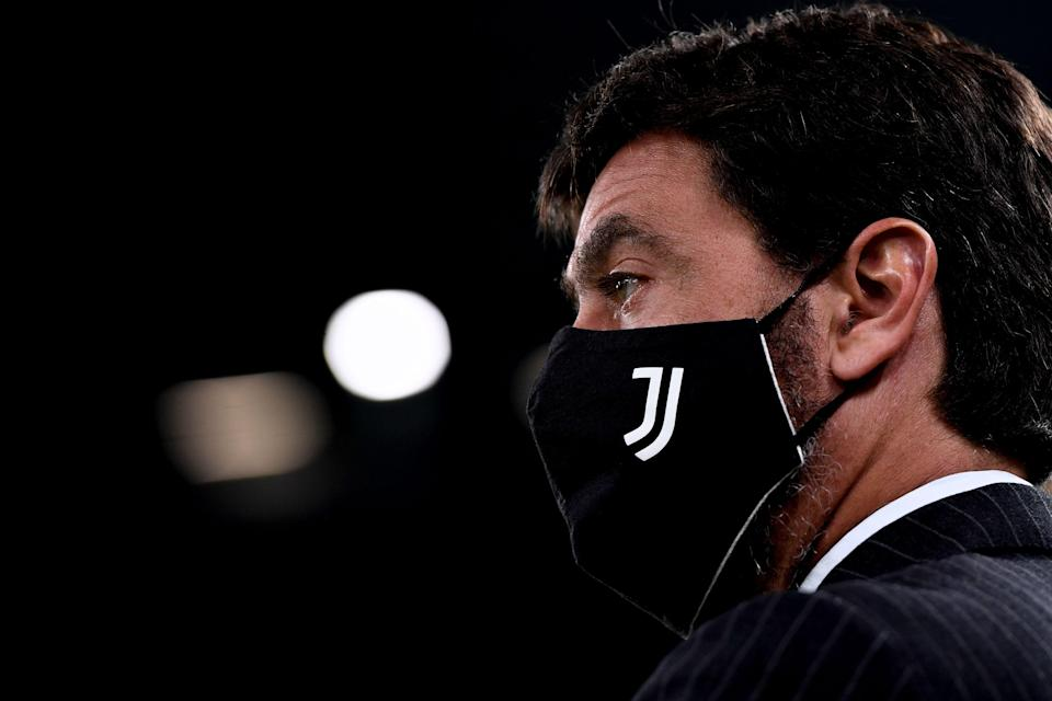 TURIN, ITALY - OCTOBER 25: Andrea Agnelli during the Serie A match between Juventus and Hellas Verona FC at Allianz Stadium on October 25, 2020 in Turin, Italy. (Photo by Daniele Badolato - Juventus FC/Juventus FC via Getty Images) (Photo: Daniele Badolato - Juventus FC via Juventus FC via Getty Images)