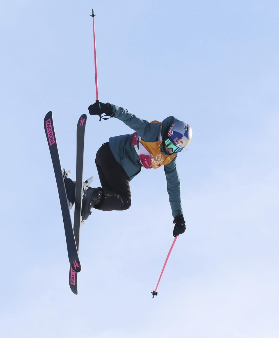 FILE - In this Feb. 15, 2020 file photo, Eileen Gu, of China, competes in the finals of the women's slopestyle at a World Cup freestyle skiing event in Calgary, Alberta, Canada. Gu, who hails from San Francisco but has roots in China, broke through Friday, Jan. 29, 2021 to become a Winter X-Games champion on the halfpipe. Next February, she will be on the short list of gold-medal contenders at the Beijing Olympics.(Dave Chidley/The Canadian Press via AP, File)
