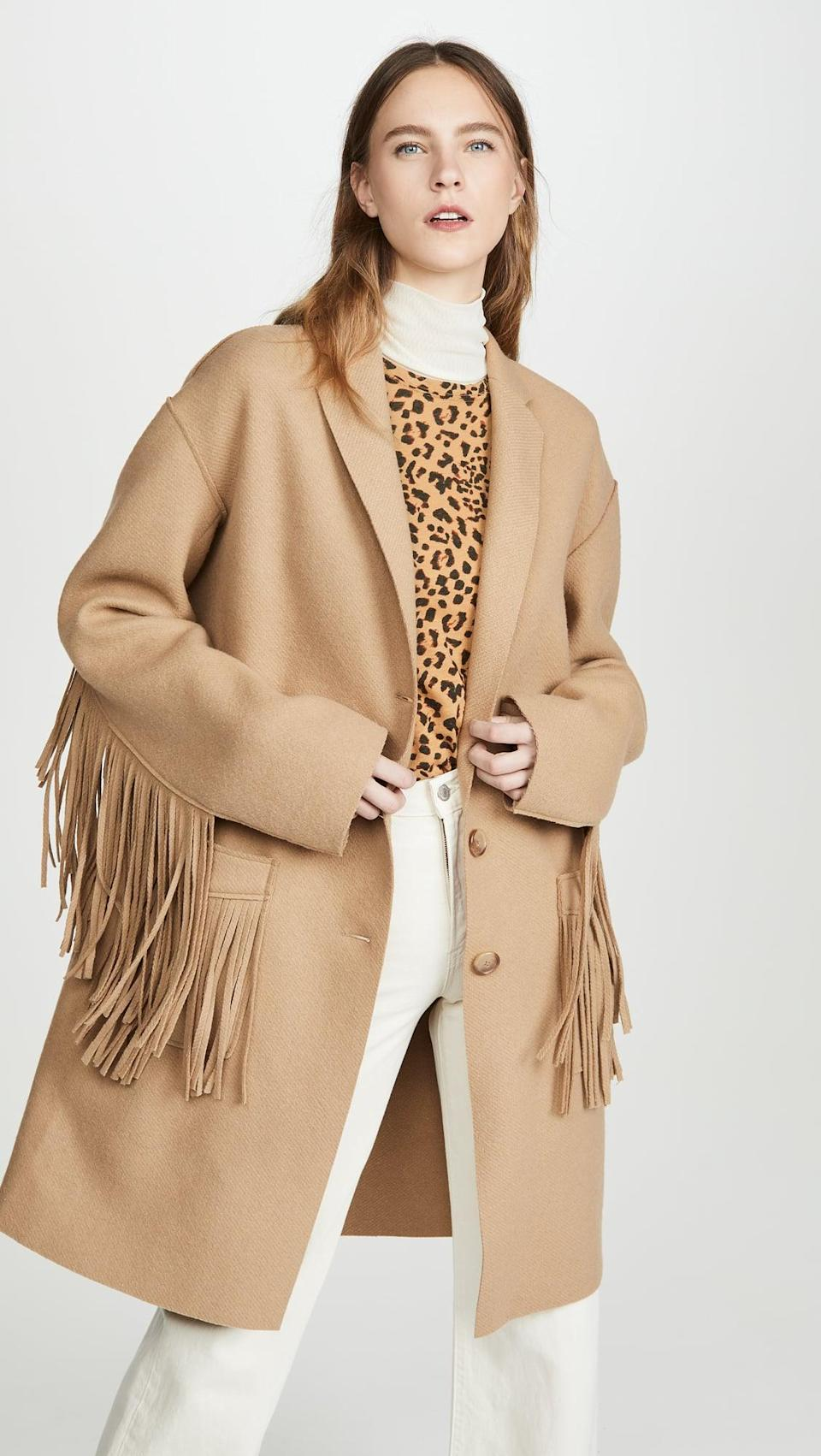 <p>If you feel like splurging, this <span>R13 Fringe Raw Cut Coat</span> ($1,595) is impossibly cool. It's a little bit boxy, has a dramatic fringe, and turns any outfit into a statement.</p>