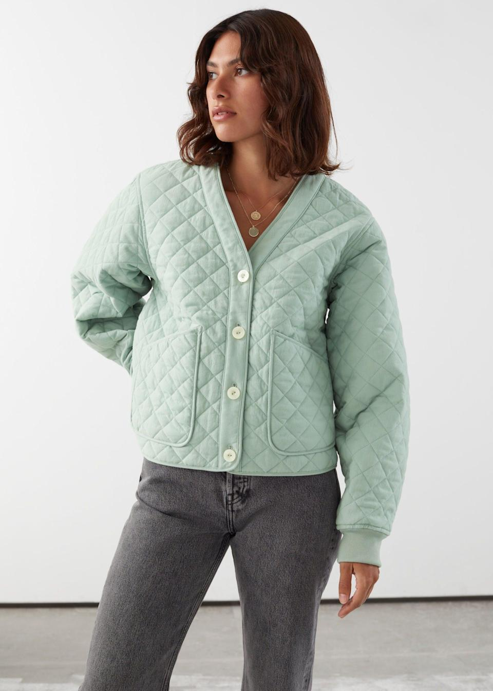 """<br><br><strong>& Other Stories</strong> Boxy Quilted Jacket, $, available at <a href=""""https://www.stories.com/en_gbp/clothing/jackets-coats/jackets/product.boxy-quilted-jacket-turquoise.0883653003.html"""" rel=""""nofollow noopener"""" target=""""_blank"""" data-ylk=""""slk:& Other Stories"""" class=""""link rapid-noclick-resp"""">& Other Stories</a>"""