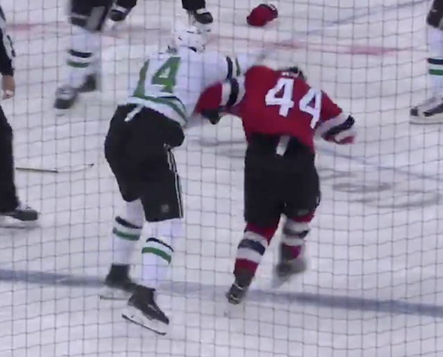 Jamie Benn and Miles Wood got into a heated donnybrook on Tuesday night.