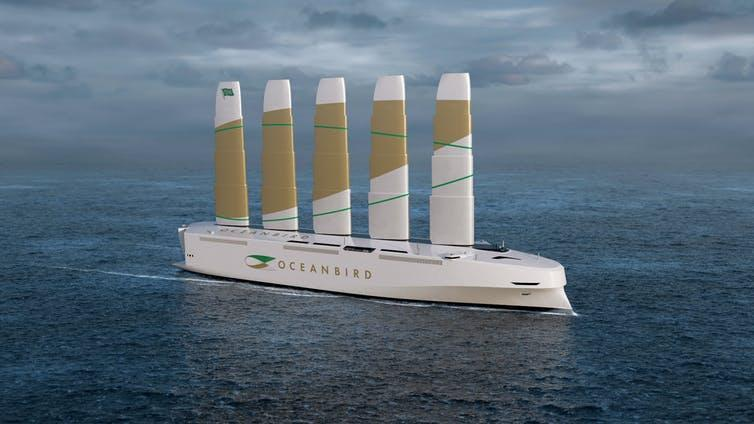 An illustration of a wind-powered cargo ship