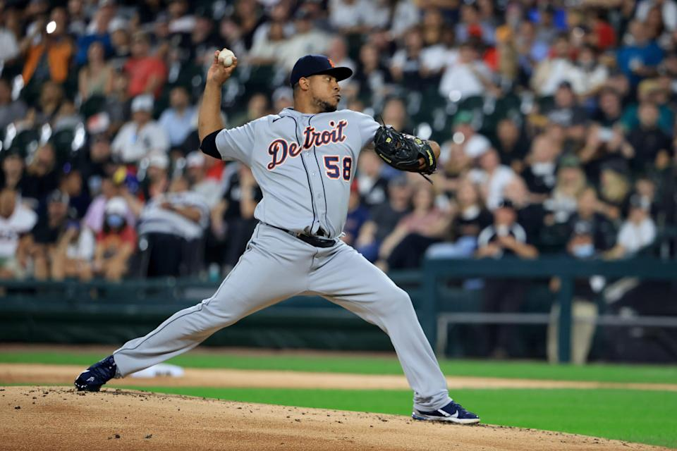 Wily Peralta of the Detroit Tigers throws a pitch against the Chicago White Sox during the first inning at Guaranteed Rate Field in Chicago on Oct. 1, 2021.