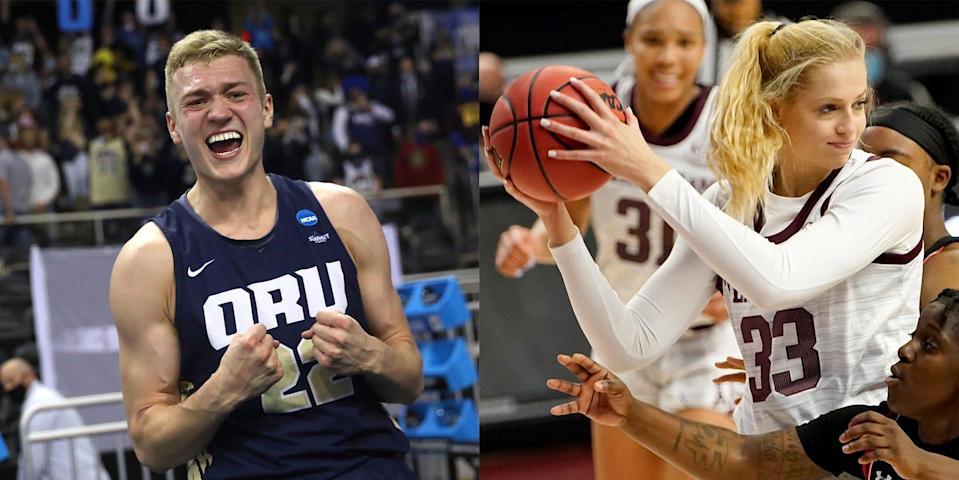 Francis Lacis of Oral Roberts and his girlfriend, Anna Dreimane of Texas A&M, have handled the challenges of a long-distance relationship.