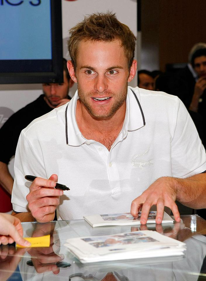 "The 25-year-old Grand Slam champ (and former Mandy Moore flame) signs autographs for his adoring fans before jetting off to Miami to participate in the Sony Ericsson Open, an ATP Masters Series event that begins on March 26. Jemal Countess/<a href=""http://www.wireimage.com"" target=""new"">WireImage.com</a> - March 24, 2008"