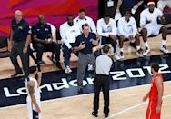 LONDON, ENGLAND - AUGUST 12: The referee calls an unsportsmanlike foul against the United States coach Michael Kryzewski during the Men's Basketball gold medal game between the United States and Spain on Day 16 of the London 2012 Olympics Games at North Greenwich Arena on August 12, 2012 in London, England. (Photo by Streeter Lecka/Getty Images)