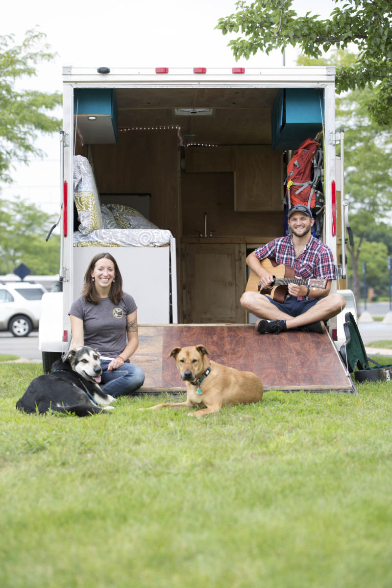 they quit their jobs to live in a cargo trailer and travel. Black Bedroom Furniture Sets. Home Design Ideas