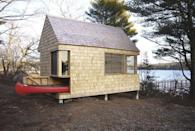 """<p>The """"Writer's Block"""" cabin designed by <a href=""""http://www.chengsnyder.com/#architecture"""" rel=""""nofollow noopener"""" target=""""_blank"""" data-ylk=""""slk:Cheng + Snyder"""" class=""""link rapid-noclick-resp"""">Cheng + Snyder</a> features storage for a canoe under its bed and workbench space. Located in Westport, Maine on the banks of the Sheepscott River, the 190-square-foot hideaway features windows arranged to maximize views and allow for passive heating and cooling. </p><p><a class=""""link rapid-noclick-resp"""" href=""""http://www.chengsnyder.com/#architecture"""" rel=""""nofollow noopener"""" target=""""_blank"""" data-ylk=""""slk:SEE INSIDE"""">SEE INSIDE</a></p>"""