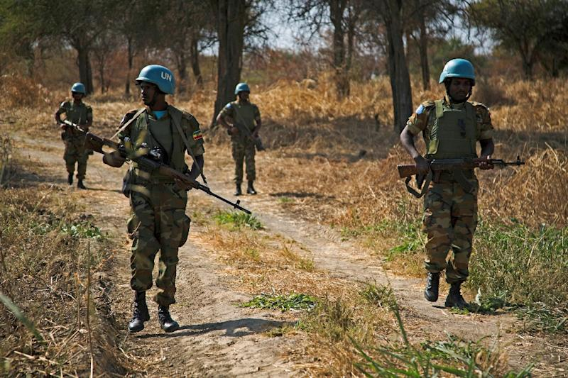 Peacekeeping troops from Ethiopia deployed in the UN Interim Security Force for Abyei (UNISFA) patrol in December 2016 the region disputed by Sudan and South Sudan