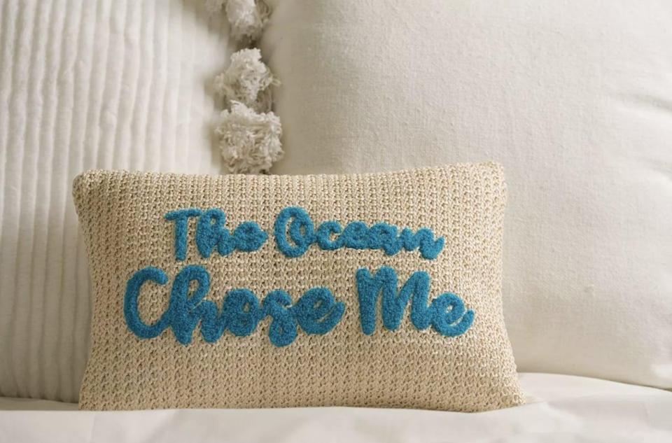 <p>Beach-lovers will adore this embroidered <span>Disney Princess X POPSUGAR Moana The Ocean Chose Me Decor Pillow</span> ($20). It makes a decorative addition to your bed, couch, or lounge chair.</p>