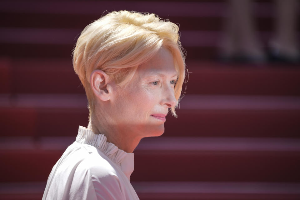 Tilda Swinton poses for photographers upon arrival at the premiere of the film 'Memoria' at the 74th international film festival, Cannes, southern France, Thursday, July 15, 2021. (AP Photo/Vadim Ghirda)