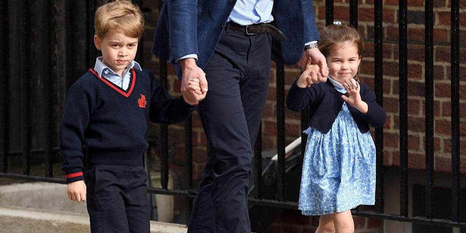 "<p>The Duke of Cambridge escorts Prince George and Princess Charlotte into the Lindo Wing, shortly after news broke that the Duchess of Cambridge had given birth to their new brother, <a href=""https://www.harpersbazaar.com/celebrity/latest/a19630331/what-is-royal-baby-3-title-kate-middleton-prince-william/"" rel=""nofollow noopener"" target=""_blank"" data-ylk=""slk:Prince Louis"" class=""link rapid-noclick-resp"">Prince Louis</a>. </p>"