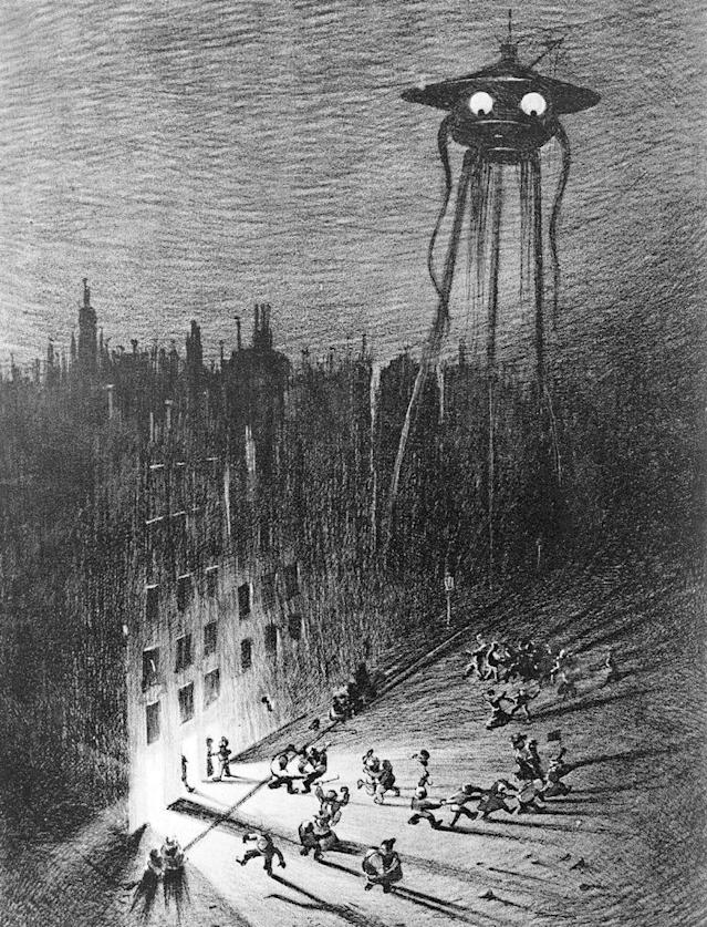 "A Martian-fighting machine hovering over London, from a 1906 edition of ""The War of the Worlds"" by H.G. Wells. (Illustration: Bettmann Archive/Getty Images)"